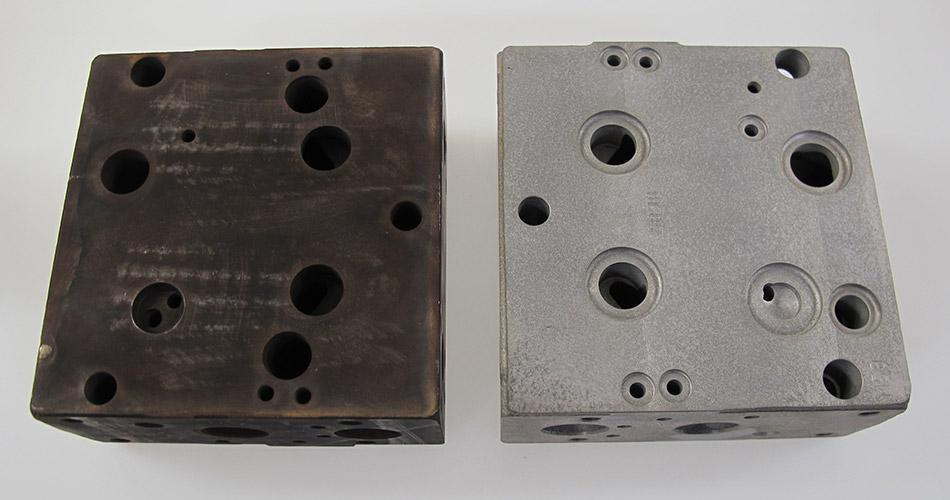 before and after removing Thermal deburring