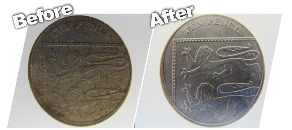 before and after cleaning coins