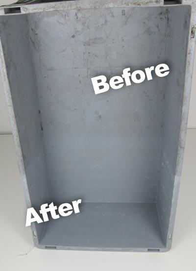 Before and after cleaning polypropylene