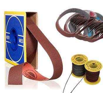 abrasive belts, rolls, cords and tapes